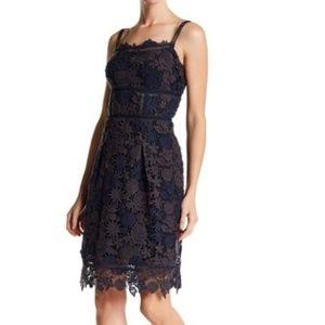 Elie Tahari Aimee Crochet Fit & Flare Dress